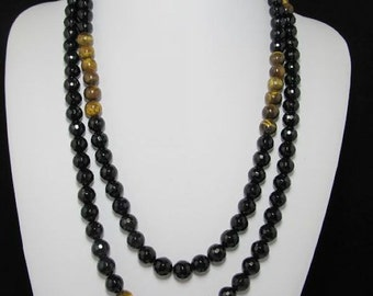 Necklace 50inch  IN Tiger eye black Agate Beads