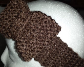 Adult brown knitted headband with
