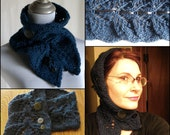 PDF knitting pattern for SHIRRED COWL Philodendria overlapping leaves chunky yarn charted and written directions