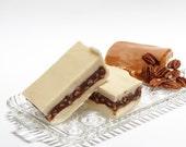 1 Pound Vanilla Praline Fudge, Caramel and Pecans layered in vanilla fudge