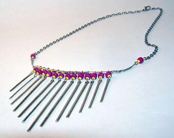 Wire Drop Silver Necklace