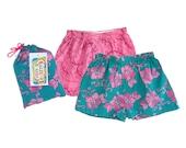 Girls Pajama Shorts Set, Pink Floral Pajama Shorts, Floral Girls Shorts Set