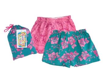 Girls Shorts Set, Floral Girls Shorts, Pink Pajama Shorts, Handdyed Batik, Birthday Girls Gift Set, PInk Shorts Girls