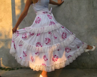 purple roses ... boho shabby Chic, retro skirt, gypsy skirt,  S/M with a big bow...full circle