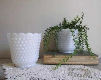 Vintage Hobnail Milk Glass Planter Pots | Fire King White Milk Glass Pots Set of 2 | Wedding Decor Centerpiece | Shabby Cottage Chic