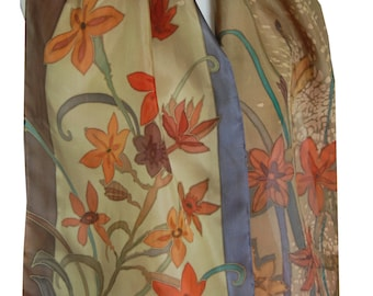 Silk Scarf Hand Painted Japanese Flowers on Brown. Original Painting on Silk. Gift for her. French Silk Dyes.