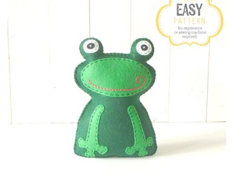 Frog Sewing Pattern, Frog Stuffed Animal Hand Sewing Pattern, Felt Frog Pattern, Frog Plushie, Frog Softie Stuffie
