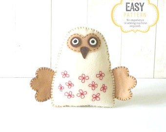 Felt Owl Pattern, Stuffed Owl Sewing Pattern, Woodland Owl Hand Sewing Pattern, Owl Softie, Plush Owl Toy, Owl Stuffie