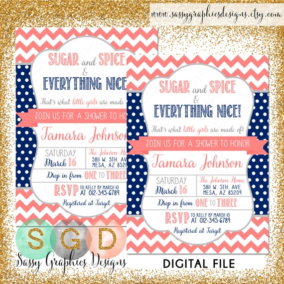 Sugar And Spice Baby Shower: Sugar And Spice Baby Shower Invitation By SassyGraphicsDesigns