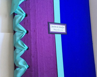 Custom Wedding Photo Album - Personalized Photo Album - Purple, Royal Blue and Mint (Custom Colors Available)