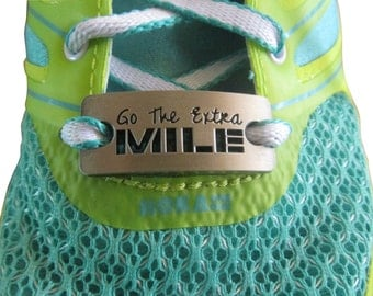 running shoe charm - inspirational running charm - running shoe tag - She believed she could so she did.