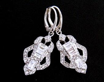 Art Deco Bridal Earrings, Chandelier Rhinestone Wedding Jewelry, Art Deco Rhinestone Earrings, Special Occasion, Prom, Wedding Earings