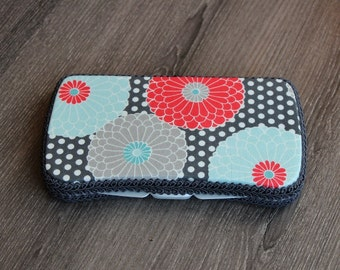 Boutique Baby Wipes Case - Grey Coral Blue - Wipes Clutch - Wipe Holder- Travel Wipes - Ready to Ship.