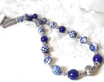 delft necklace delft blue jewelry Delft  blue necklace blue and white necklace delft blue necklace
