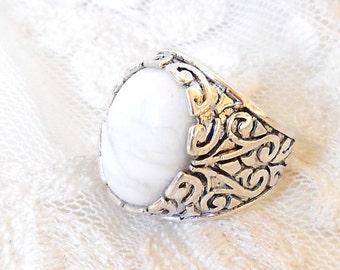 white stone ring boho ring white ring silver ring stone ring gemstone ring cottage chic ring boho ring boho jewelry