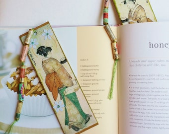 Gift Bookmarks, Japanese Tea Ceremony Design Handmade Bookmarks Set of Two, Book Lovers Gift, Reading, Librarian Gifts