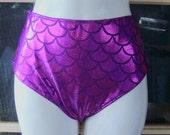 Mermaid classic look high waisted bikini bottoms in fuschia