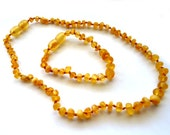 Baltic Amber Baby Teething Necklace and Anklet Unpolished Honey Raw Natural