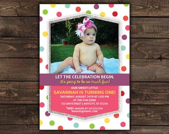 Sprinkles First Birthday Invitation, Girls Birthday, 1st Birthday Invitation with Glitter, Printable Party Invitation -- Any Color