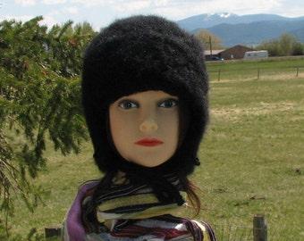 Alpaca Knit Felt Furry Hat with ear flaps Boxy Crusher Basic Black