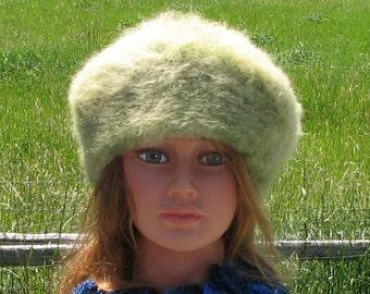 Pale Lime Green Alpaca Knit Felt Furry Tam Beret Hat Crusher