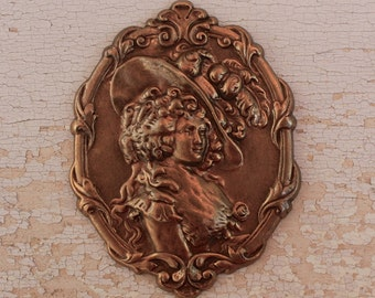 Brass Stamping Woman Marie Antoinette Era Style