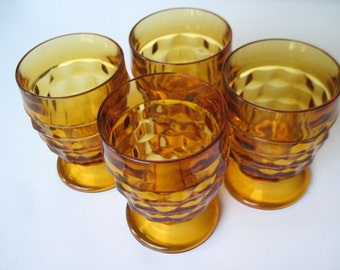 Amber Whitehall, Amber Goblets, Gold Goblets, Footed Tumblers, Amber Glasses, Juice Goblets, Gold Glasses, Stacked Cube Design,