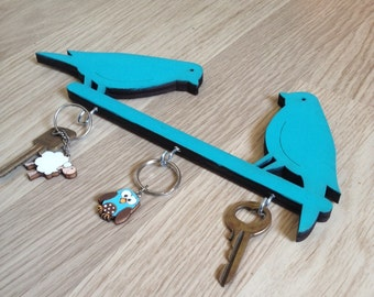 Key hook, turquoise home decor, wall key holder, decorative key hook, decorative  wall hook, birds wall hook