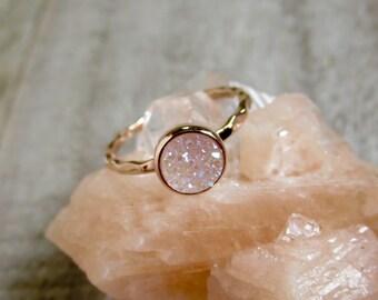 Tiny Rose Gold Druzy Ring, Natural White AB Druzy Ring, Titanium Drusy Quartz 18K Rose Gold Vermeil Hammered Band