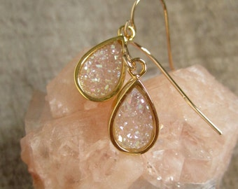 Natural Druzy Earrings Titanium Drusy Quartz Drops Gold Bezel Set