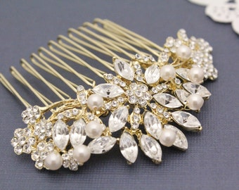 Gold bridal hair comb gold wedding comb gold wedding accessory gold bridal hair accessory gold wedding hair jewelry Pearl wedding hair comb