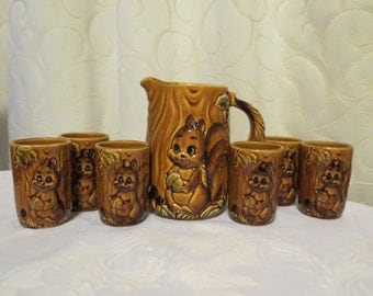 Vintage 60s Ceramic Squirrel 7 Piece Jug Decanter and Cup Glass Set