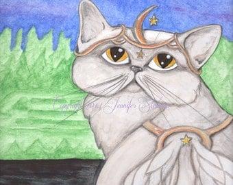 Persian Angel Cat art, light grey feline, big eyes, moon and stars