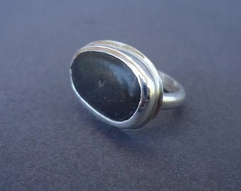 Beach Stone Ring, Beach Pebble Ring, Silver Ring, Sz. 5