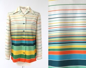 1970s Disco Polyester Ombre Striped Long-Sleeve Button-Up Shirt Vintage Medium/Large