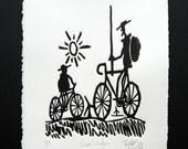 Quixote Rides Again Linocut Print