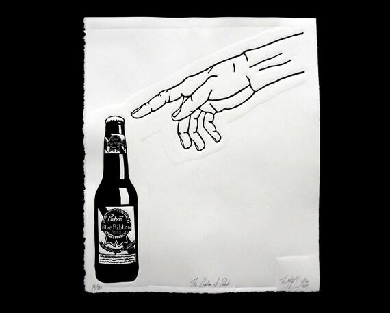 Beer Art, PBR sign, Boyfriend Gift, Man Cave, Guy gift, Linocut Print, Beer Lover,