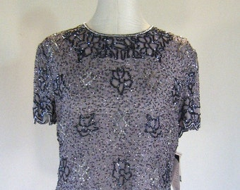 Gray Beaded Papell Boutique Shirt Top Glam