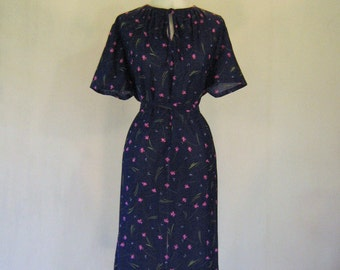 1970s Pink Pansy Navy Day Dress