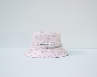 Baby Sun Hat Reversible (6-12 months) with strap - Lions in pink and grey