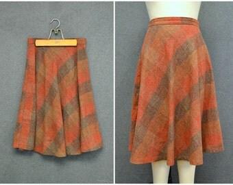 1970s Stonybrook Plaid Wool Blend Skirt