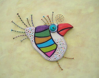 Spring Chicken, MADE to ORDER, Original Found Object Sculpture, Wall Art, Wood Carving, Wall Decor, by Fig Jam Studio