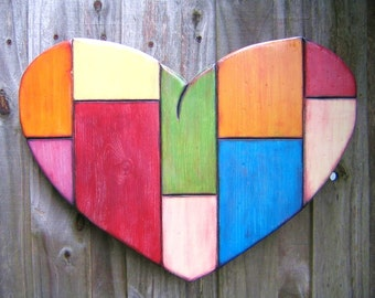 Art Heart, MADE to ORDER, Original Wood Wall Sculpture, Wood Carving, Wall Decor, Wall Hanging, Heart Sculpture, by Fig Jam Studio
