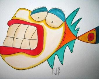 Fish Watercolor J4, Original Watercolor Painting, by Fig Jam Studio