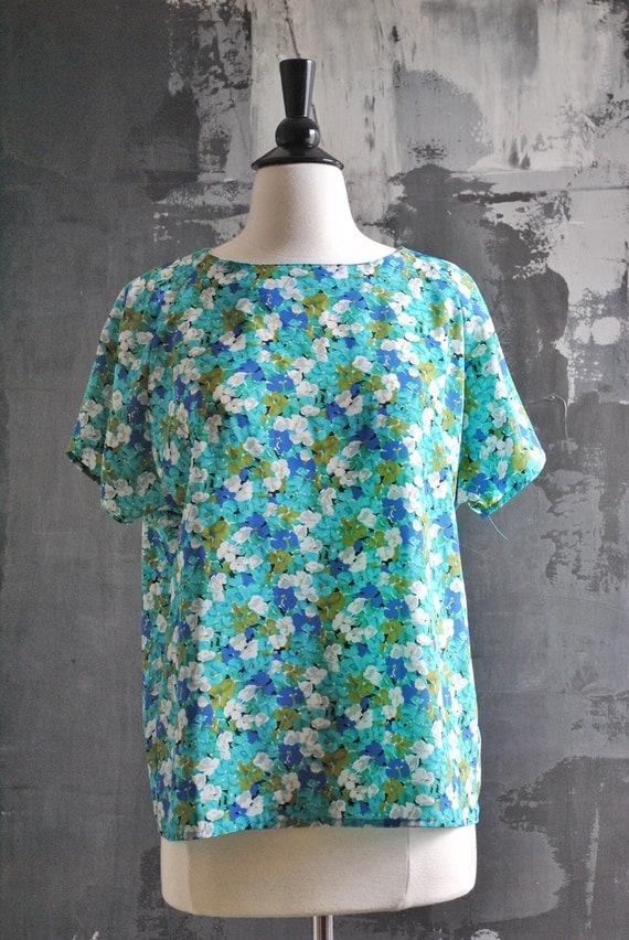 1990s Teal Floral Blouse: Blue and Green Top; Silky Blouse