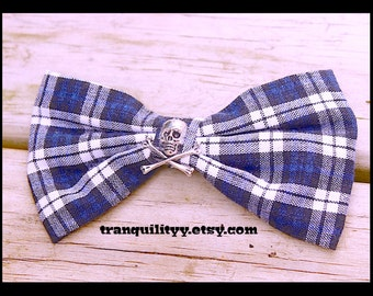 Skull Hair Bow , White n Black Plaid ,Hair Bow, Gothic, Scene, Hispter, Handmade By: Tranquilityy