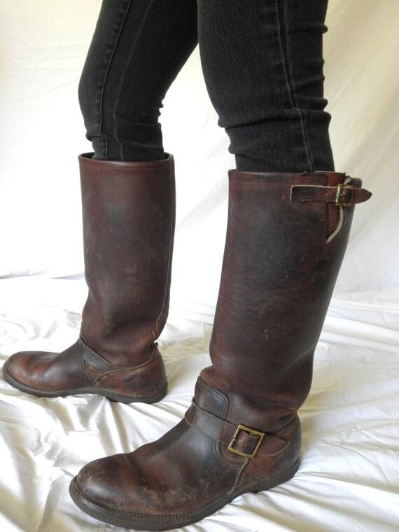 Vintage Hudson Bay Boots Herters Brown Leather Rare Snake