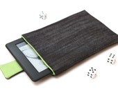 Kindle Fire, Kindle Voyage, Kindle Paperwhite case cover sleeve handmade with magnetic closure dark jeans denim and green
