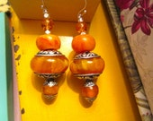 Divine Tibetan AMBER Copal Resin, Repousse Embossed Sterling Silver, CARNELIAN & Genuine Amber Vintage Dangle/Drop Pierced Earrings