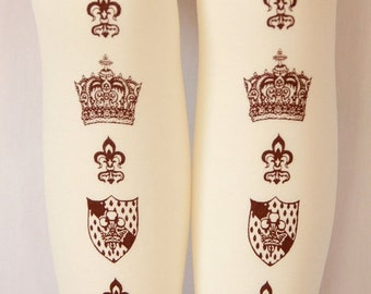 XL Crown Printed Tights Extra Large Plus Size Brown on Cream Ivory Dolly Kei Lolita Victorian Steampunk